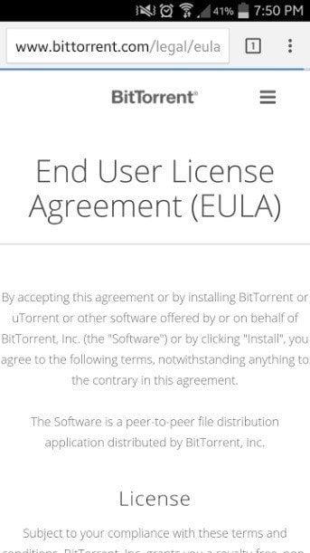 EULA in Safari Browser from Bleep App