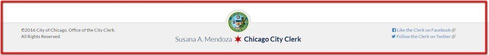 Website footer of City of Chicago