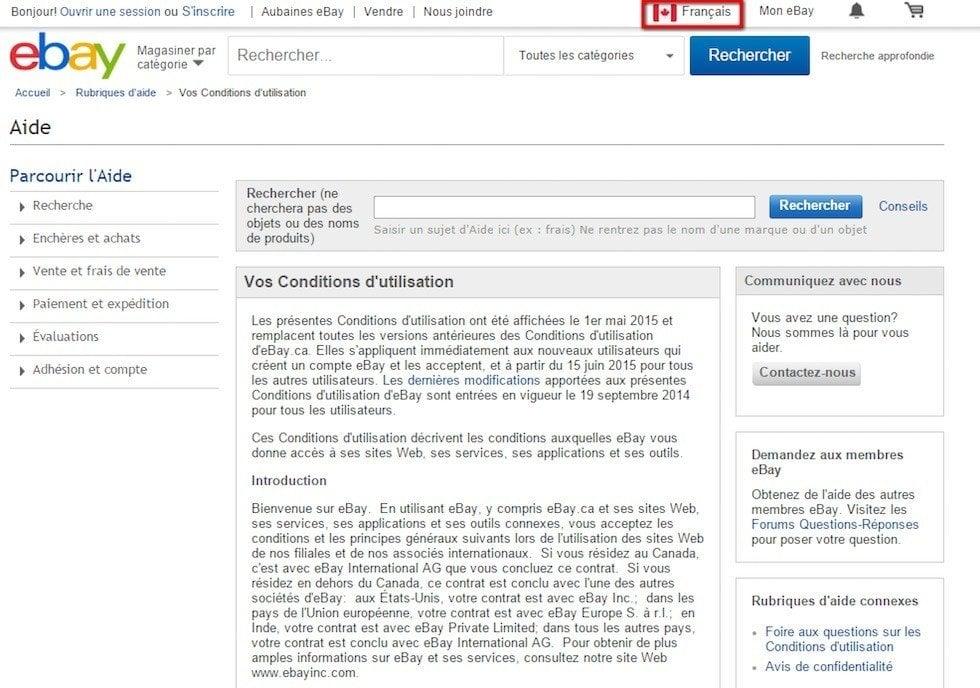 eBay Canada: Vos conditions utilisation
