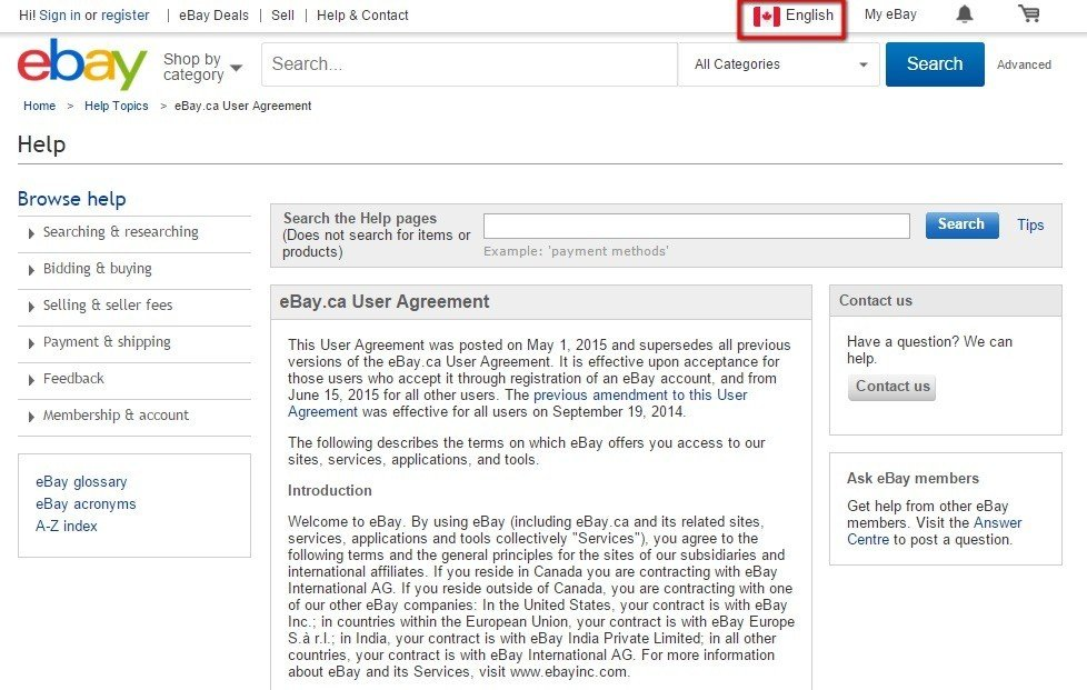 eBay Canada: Language Selector
