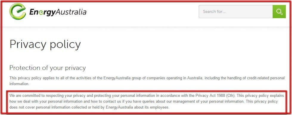 Privacy Policy of Energy Australia mentions Privacy Act of 1998
