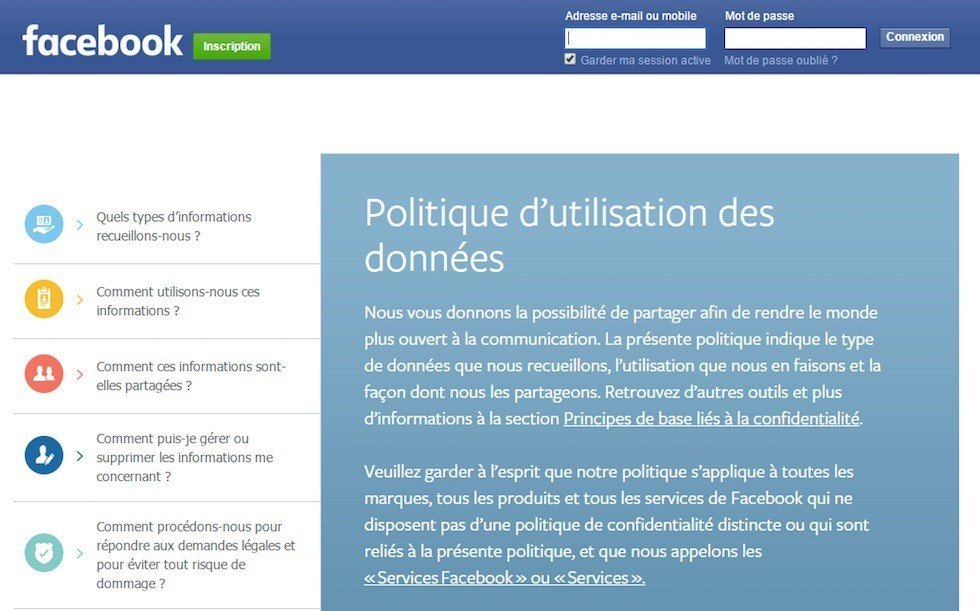 Translated Privacy Policy of Facebook: FR