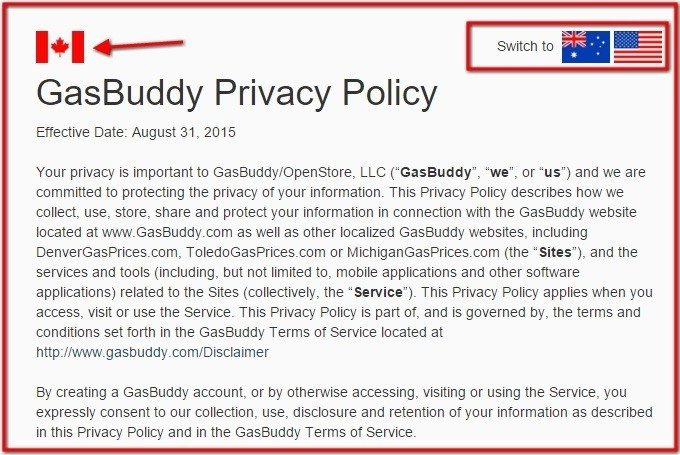 GasBuddy: Canada Privacy Policy Version