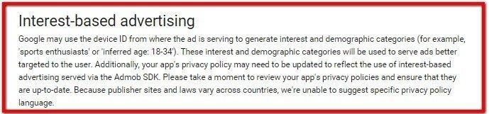 Interest-based policies in Google AdMob SDK