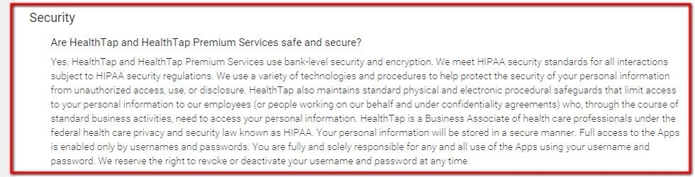 Security clause section in HealthTap Privacy Policy