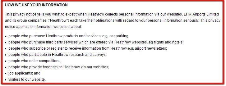 Heathrow Airport: How We Use Your Information