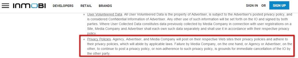 InMobi Advertiser Terms: Must have Privacy Policies