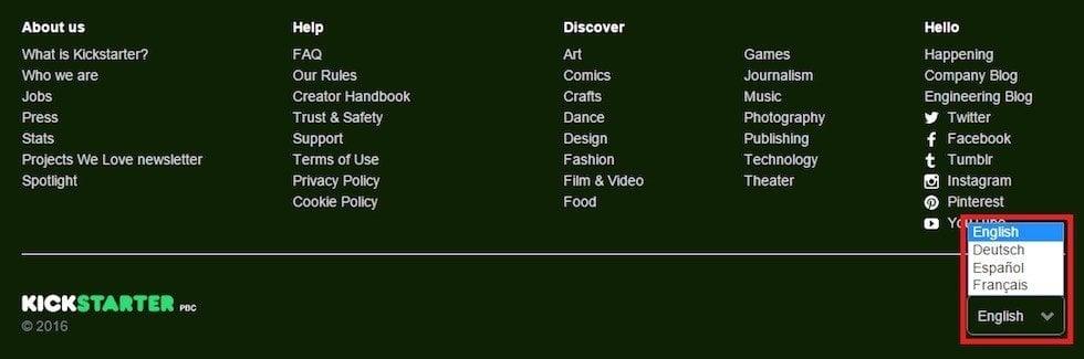 Language select in Kickstarter website footer