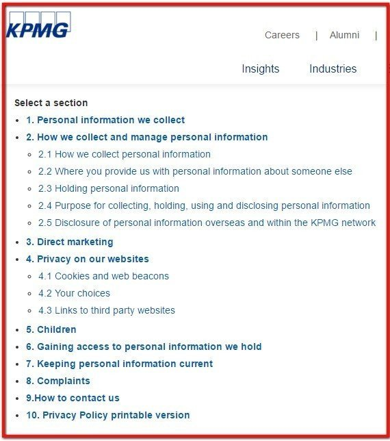 KPMG Australia Table of Contents in Privacy Policy