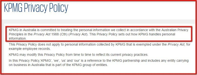 Introduction clause in Privacy Policy of KPMG Australia