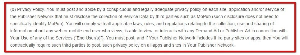 Privacy Policy clause in MobPub Terms of Service