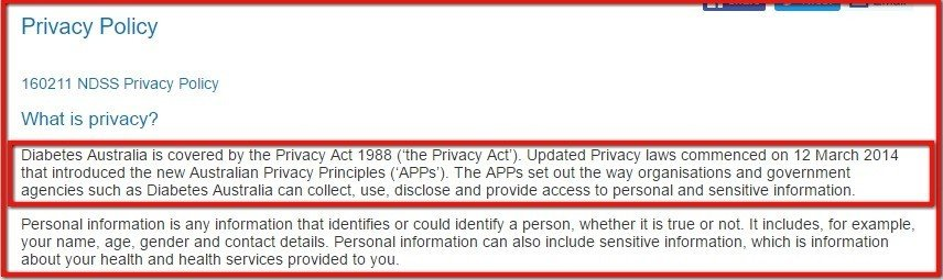 Privacy Policy of NDSS is covered by Privacy Act of 1998