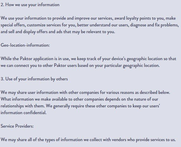 How we use your information in Praktor Privacy Policy