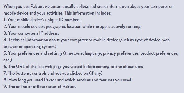 Screenshot from Paktor Privacy Policy