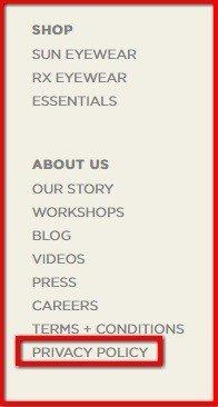 Shwood website footer: Highlight legal link