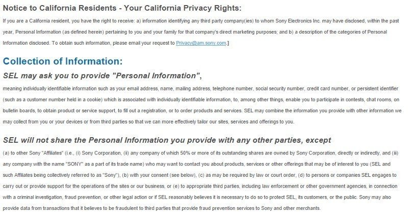 California Privacy Rights Notice from Sony