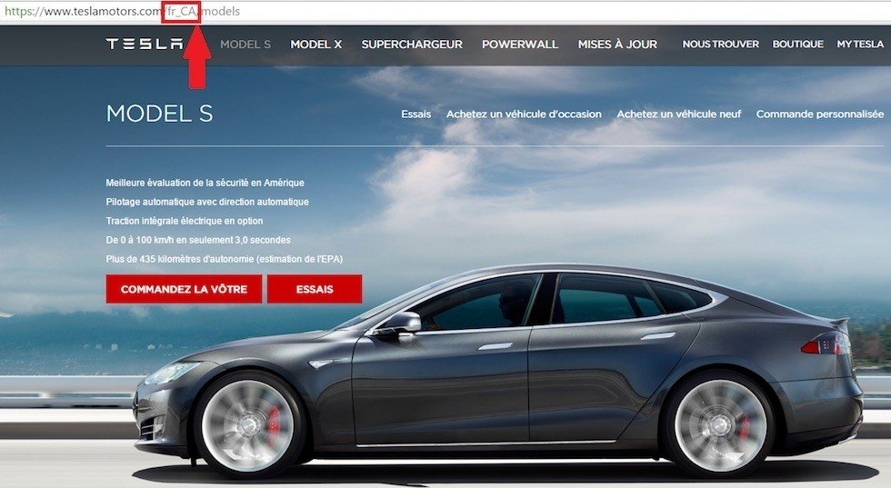 Screenshot of Tesla Motors Canada in French