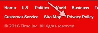 Highlight Privacy Policy in Time website footer