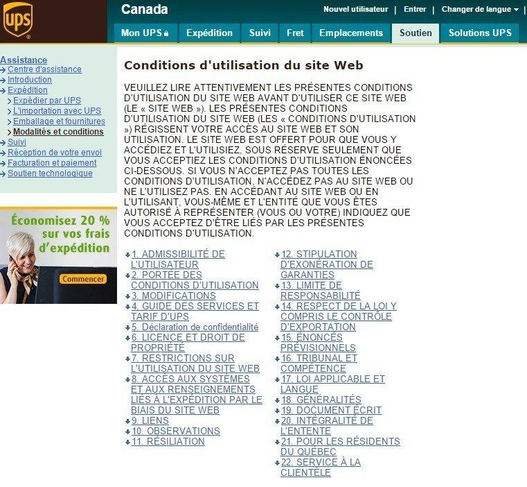 UPS Canada: Conditions d utilisation