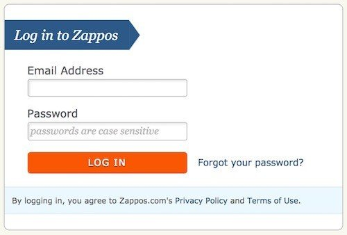 Zappos login: Agree to Privacy Policy, Terms of Use