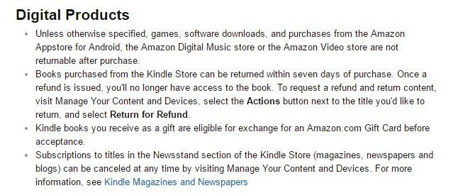 Amazon Return/Refund Policy on digital purchases