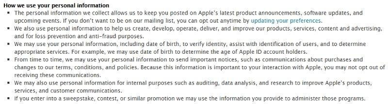 How we use your personal information in Apple Privacy Policy