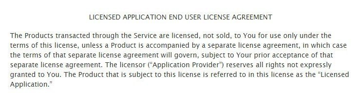 The introduction paragraph of Apple standard EULA