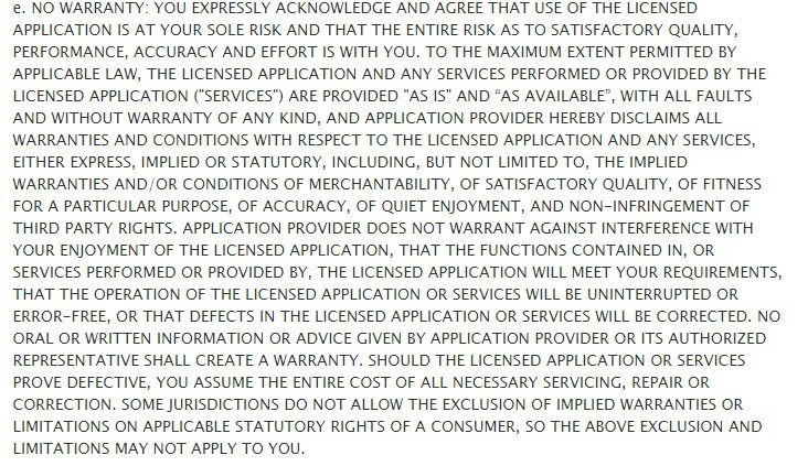 The No Warranty clause in Apple standard EULA