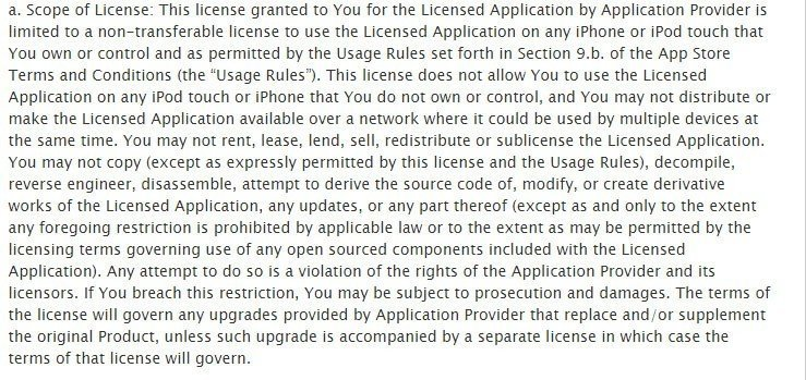 The Scope of License clause from Apple standard EULA
