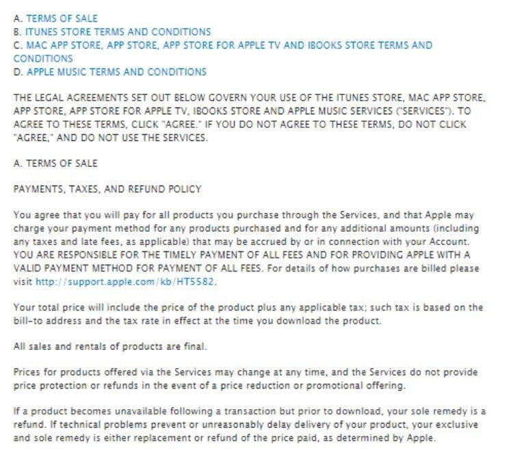 The Terms of Sale section in Apple Terms and Conditions agreement
