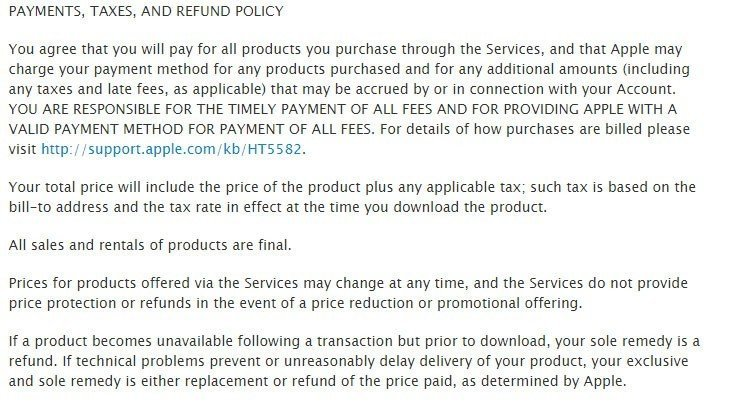 Apple US Terms and Conditions do not offer refunds