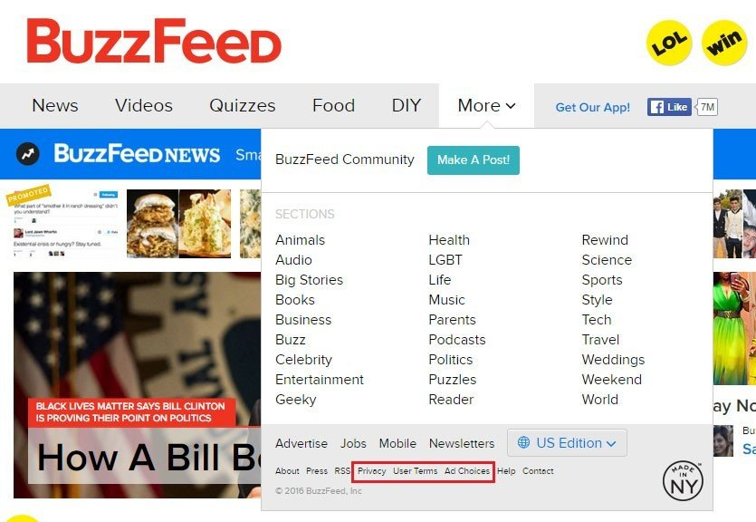 Highlight Privacy and User Terms links on BuzzFeed website