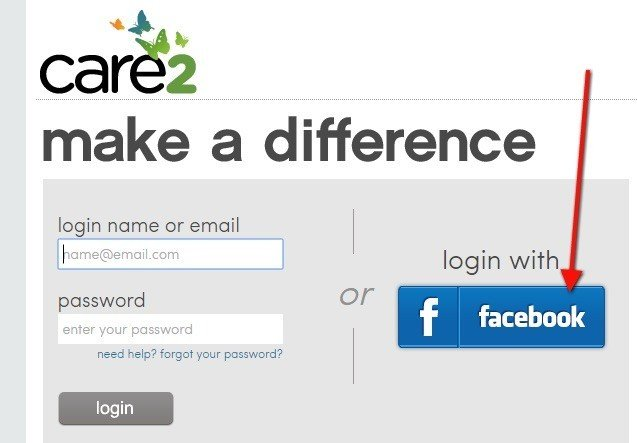 Login with email or Facebook on Care2