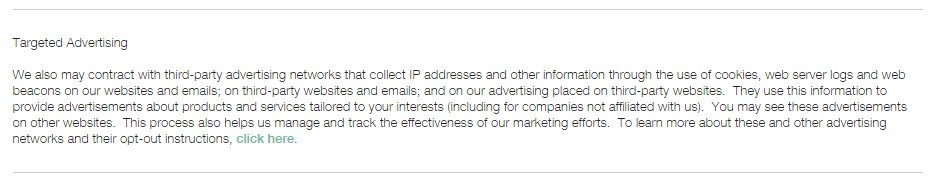 Targeted Advertising section in Clinique Privacy Policy