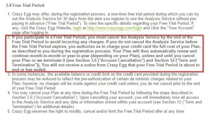 The Free Trial Period clause in the legal agreement of Crazy Egg