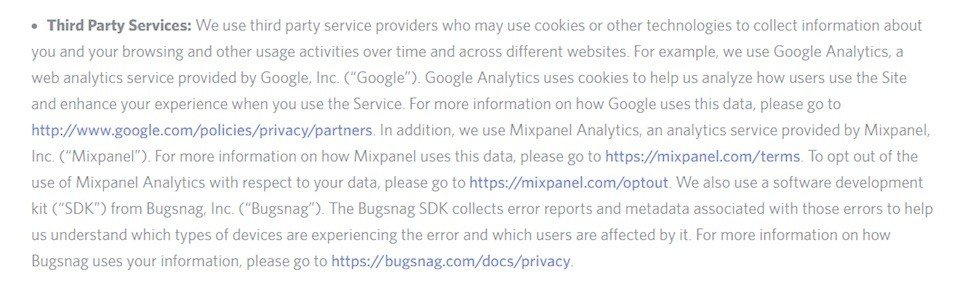 Privacy Policy of Dischord: Third party services