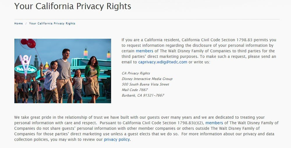 Screenshot of Your California Privacy Rights page from Disney