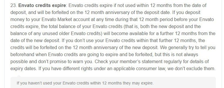 The Credits will expire clause in Envato Market Terms agreement