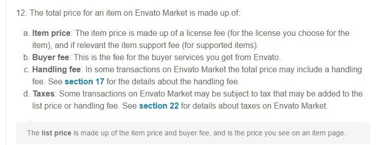 The Fees and charges sections in Envato Market Terms agreement