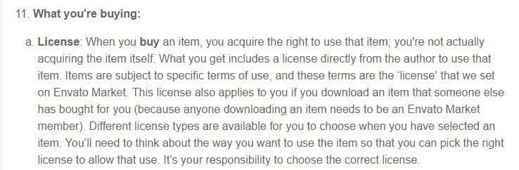 The License clause in Envato Market Terms agreement