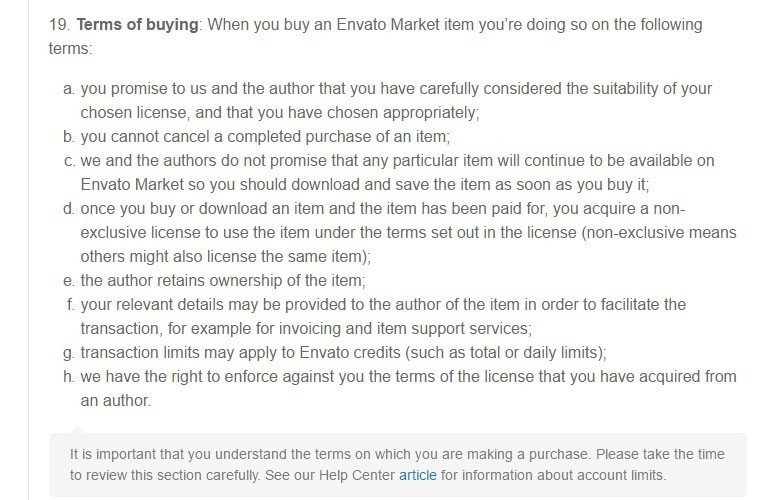 The Terms of buying clause in Envato Market Terms agreement
