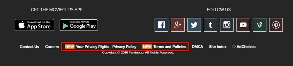 Highlight the legal agreements and policies from Fandango footer