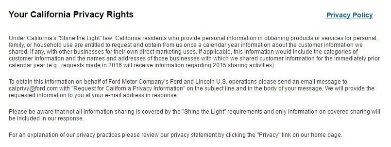 Screenshot of Your CA Privacy Rights page of Ford