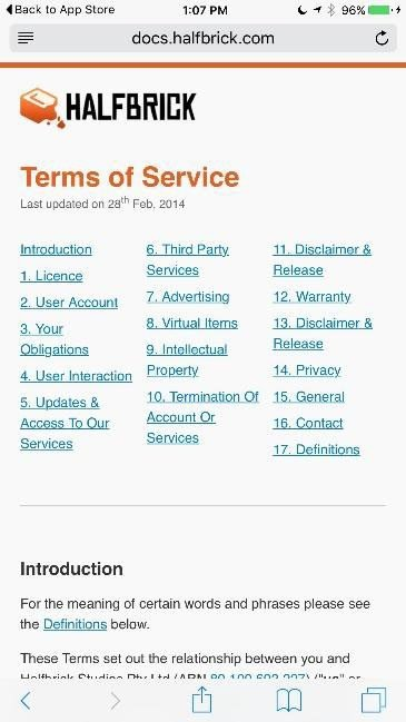 Screenshot of Fruit Ninja website and its Terms of Service agreement