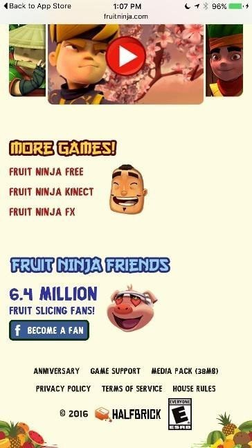 Screenshot of Fruit Ninja website and its links in the footer