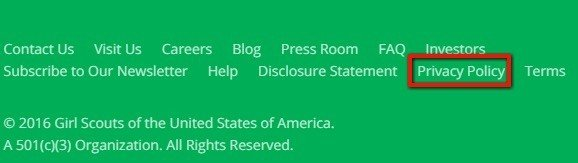 Girls Scouts USA: Highlight Privacy Policy in footer