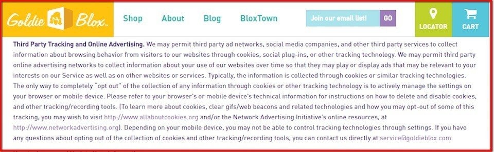 Third party tracking and advertising with Goldie Blox