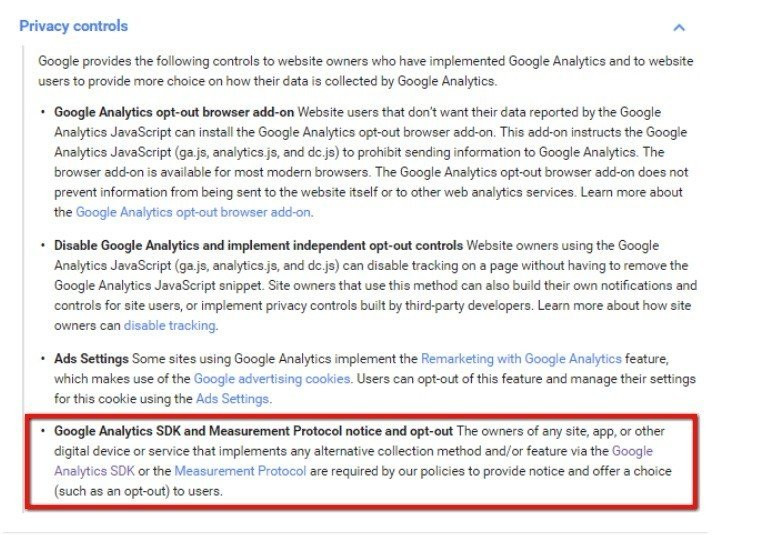 Notice and opt-out requirement from Google Analytics Mobile