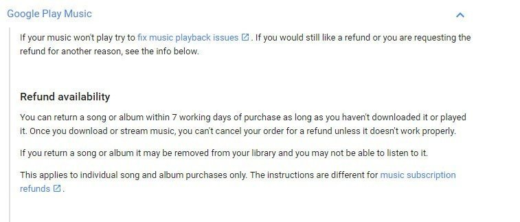 Google Play Music refund availability