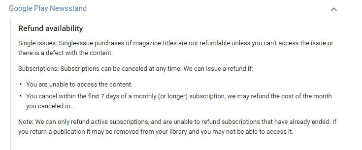 Google Play Newsstand policy on purchases of single magazine or subscriptions